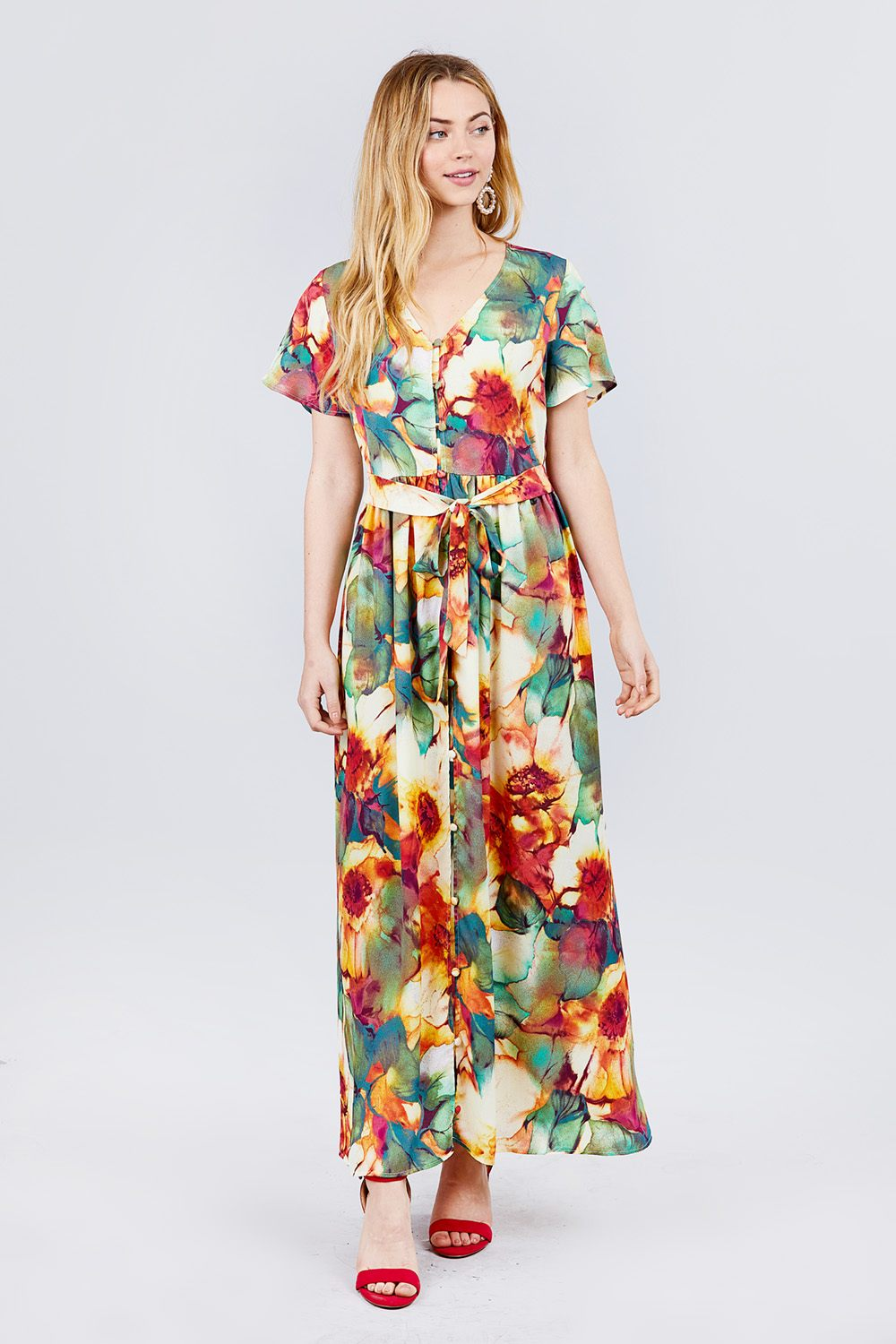 Short Sleeve V-neck Button Down Belted Print Woven Maxi Dress