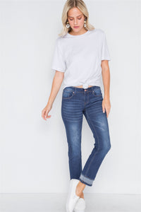 Dark Blue Mid-Rise Jeans with Contrast Hem