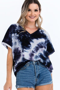 Tie-dye Top Featured In A V-neckline And Cuff Sort Sleeves