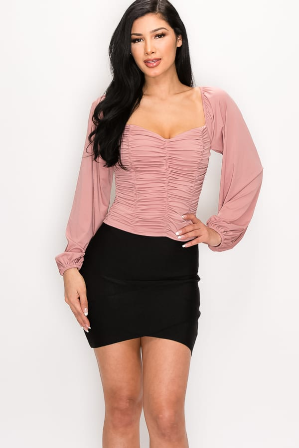 Ruched Sweetheart Neck Long Sleeve Top