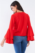 Load image into Gallery viewer, V-neck Long Bluebell Slit Draw String Tie Double Frill Sleeve Top