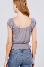 Load image into Gallery viewer, Short Puff Sleeve Front Tie Detail Smocked Waist Knit Gauze Top