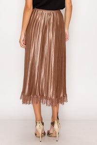 Shiny + Lace Trim Accordion Skirt