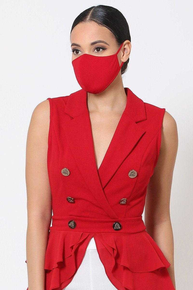 Bright Red Reusable Face Mask