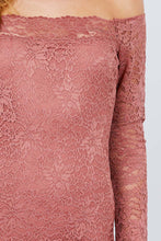 Load image into Gallery viewer, Lace + Long Sleeve Off the Shoulder Dress