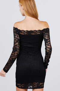Lace + Long Sleeve Off the Shoulder Dress