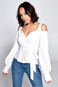 Elegant + Long Sleeve Shoulder Pop Blouse