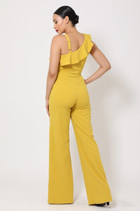 Yellow + Elegant Ruffled Jumpsuit