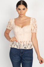 Load image into Gallery viewer, Sheer Lace Sweetheart Flounce Top