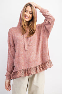 Oversize Ruffle Pullover Sweater Hoodie