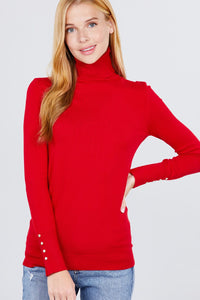 Elegant + Long Sleeve Turtle Neck Sweater
