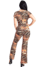 Load image into Gallery viewer, Zebra Print Crop Top And Palazzo Pants Set