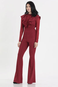 Glittery + Red Ruffled Jumpsuit