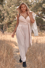 Load image into Gallery viewer, Plus Size Stone Blush Pink Sleeveless Self-tie Wrap Detail Deep Plunge V-neck Jumpsuit