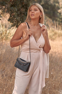 Plus Size Stone Blush Pink Sleeveless Self-tie Wrap Detail Deep Plunge V-neck Jumpsuit