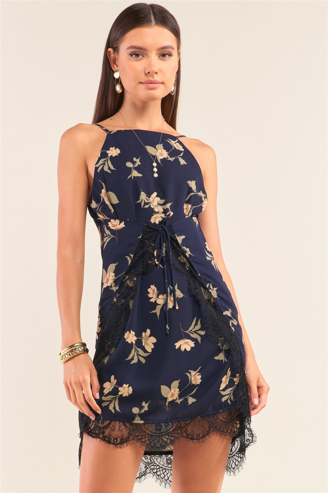 Floral + Lace Trim Halter Neck Sleeveless Dress
