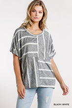 Load image into Gallery viewer, Striped + Oversized Rounded Neck Blouse
