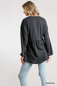 Puffy Sleeves & Confetti Flowing Comfy Blouse
