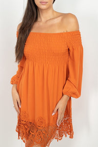Smocking Off Shoulder Lace Dress