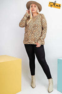 Long Sleeve + Leopard Print Knit Pullover