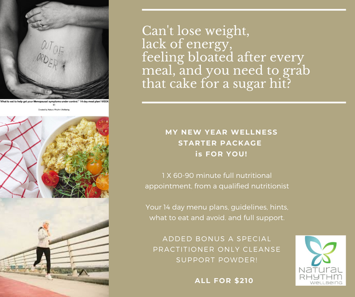 Can't lose weight, lack of energy, feeling bloated after every meal, and you need to grab that cake for a sugar hit?  My new year health starter wellness package is for you.