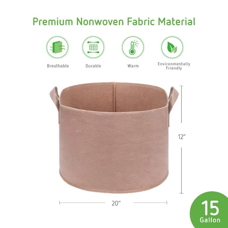 Gardening Plant Pots With Handles 5 Pack Beige
