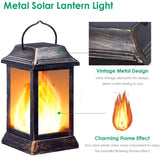 Solar Lights Outdoor LED Flickering Flame Lantern
