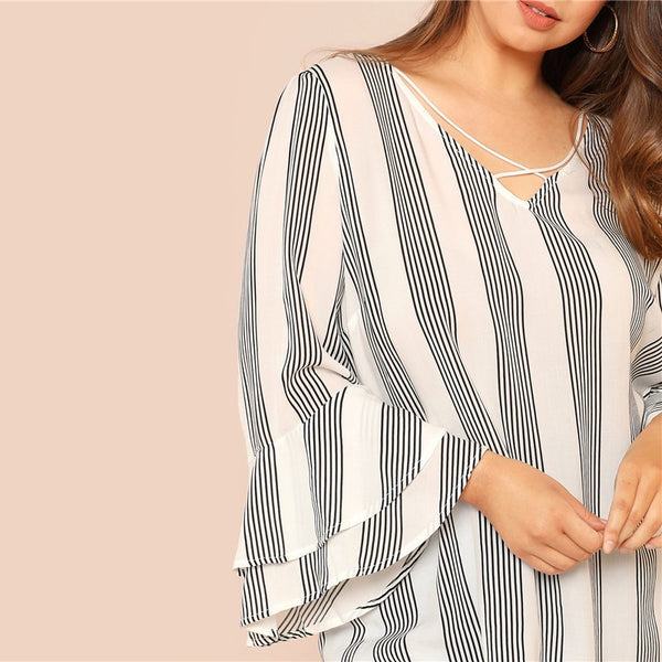 Striped Criss Cross Front Blouse