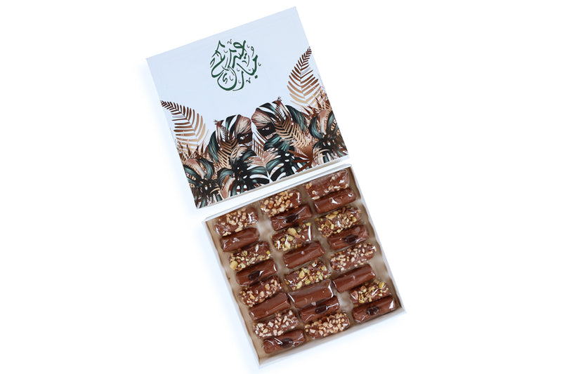 EID White Gift Box with Flutes Chocolate