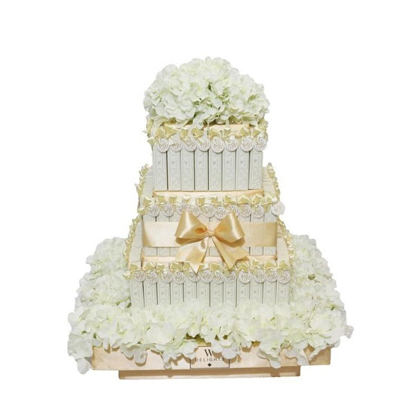 3 Layer White Eclair Square Tower - Wedding Delights W.L.L