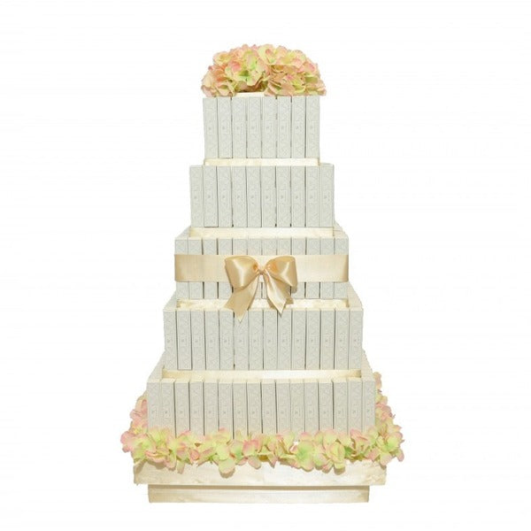5 Layer White Eclair Square Tower - Wedding Delights W.L.L