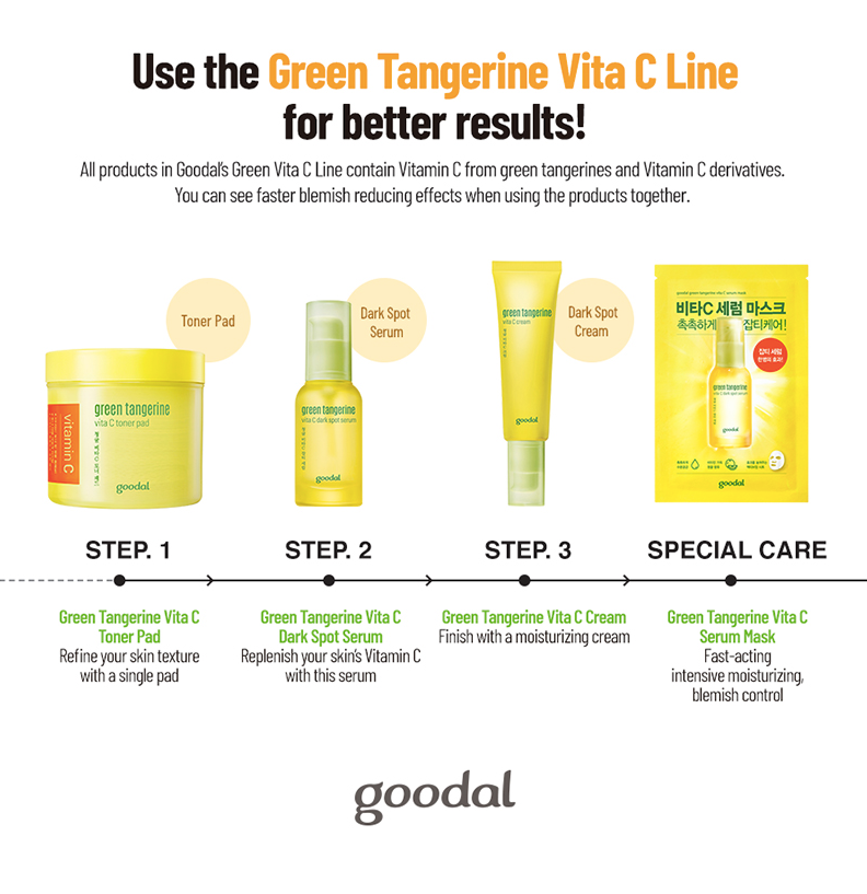 Goodal Green Tangerine Vita C Dark Spot Serum Sheet Mask - Olive Kollection