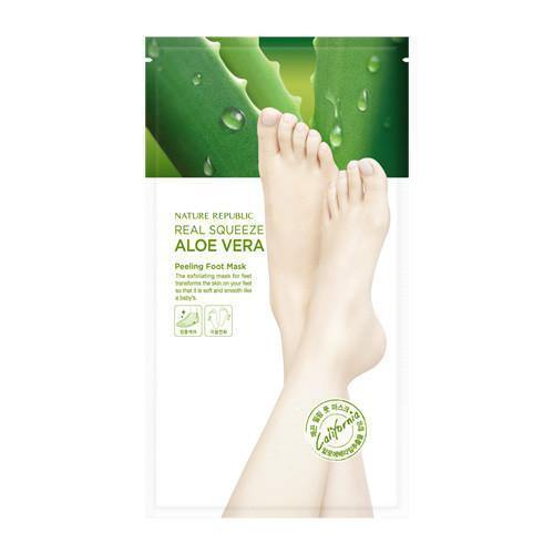 Nature Republic Real Squeeze Aloe Vera Peeling Foot Mask - Olive Kollection