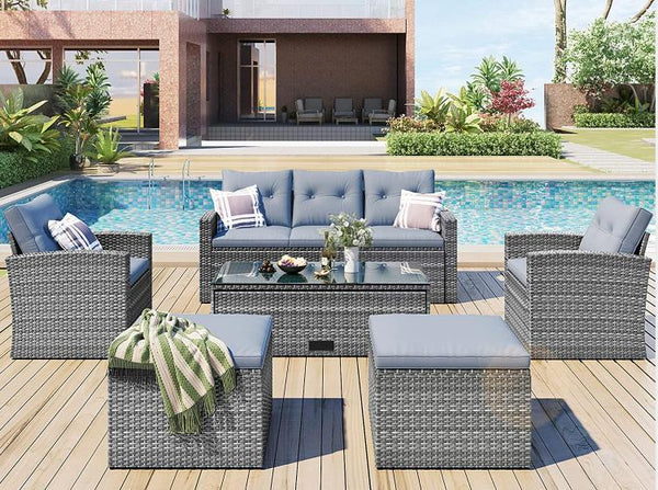 6-Piece Outdoor Rattan Conversation Set for 7 Persons