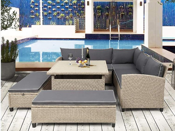 6-Piece Patio Rattan Sectional Set with Table and Benches