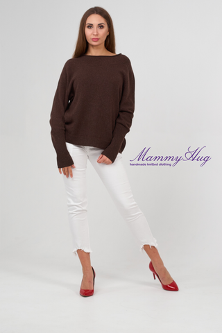pure cashmere knit brown sweater