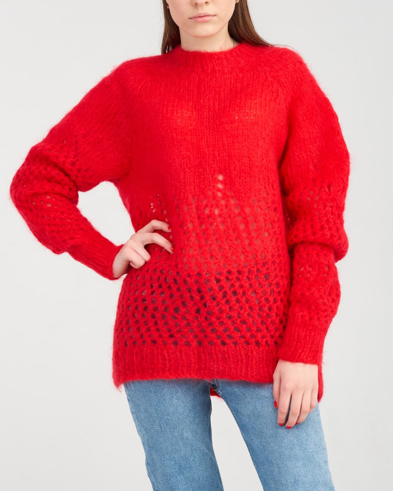 red knitted merino sweater on woman