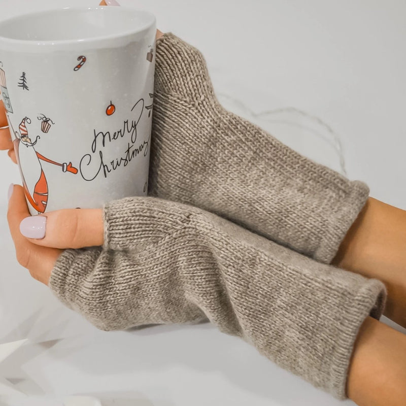 Pure cashmere fingerless gloves