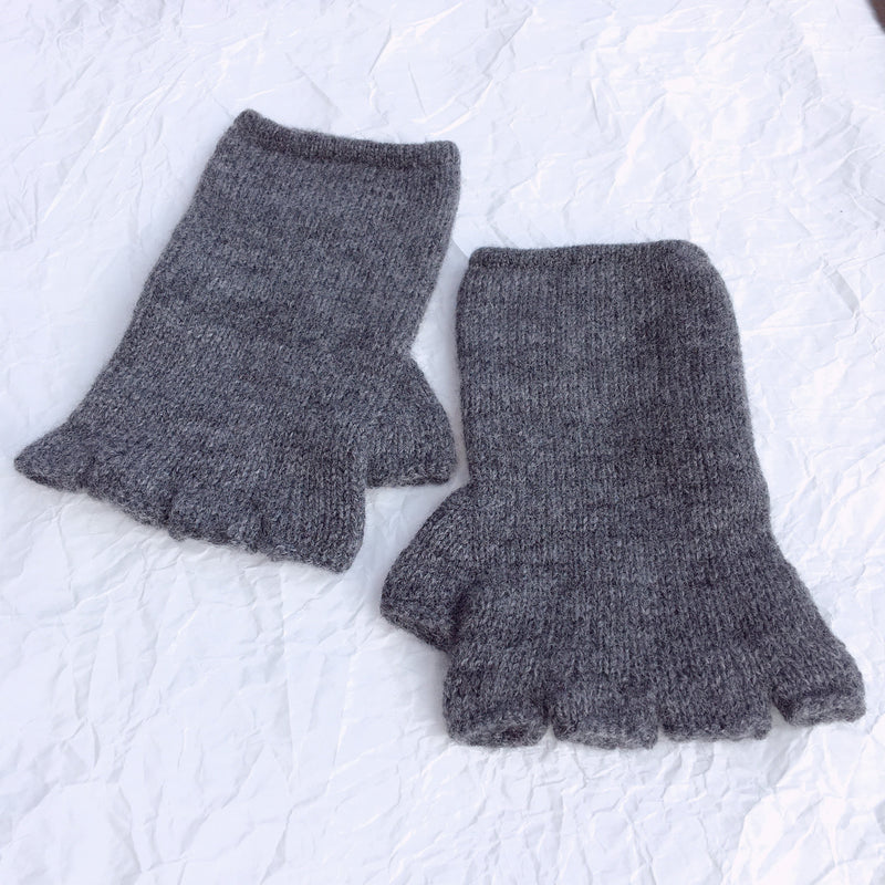 Cashmere short cropped fingerless gloves