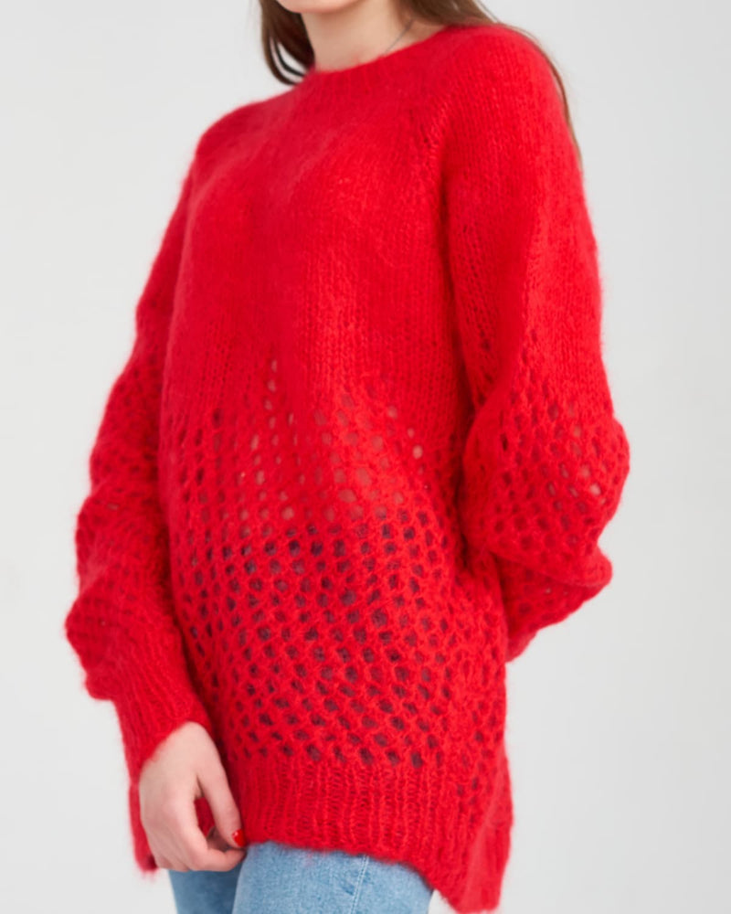red mohair sweater knitted under the order for a young woman