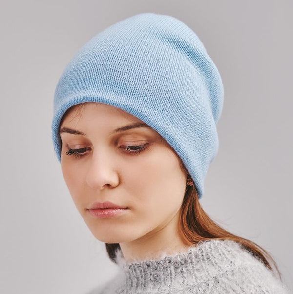 blue baggy beanie  on a young girl