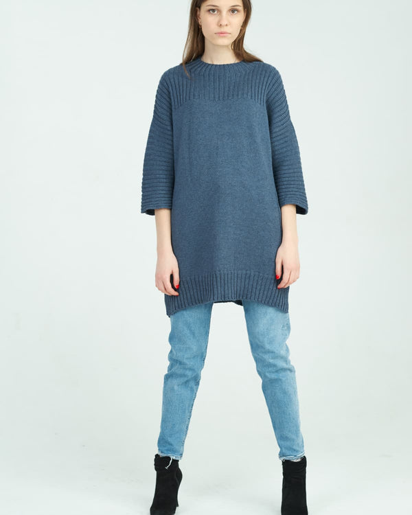 knitted dress combined with jeans