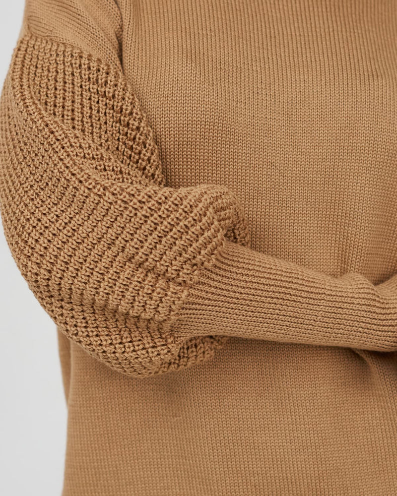 original sleeve design in a handmade sweater