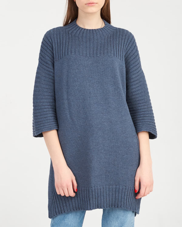 3/4 sleeve knitted sweater