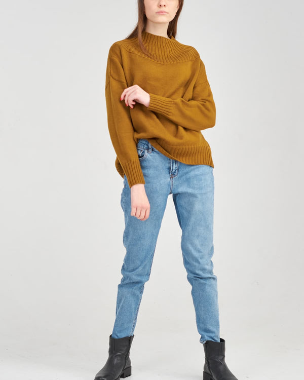 look with a merino sweater and jeans