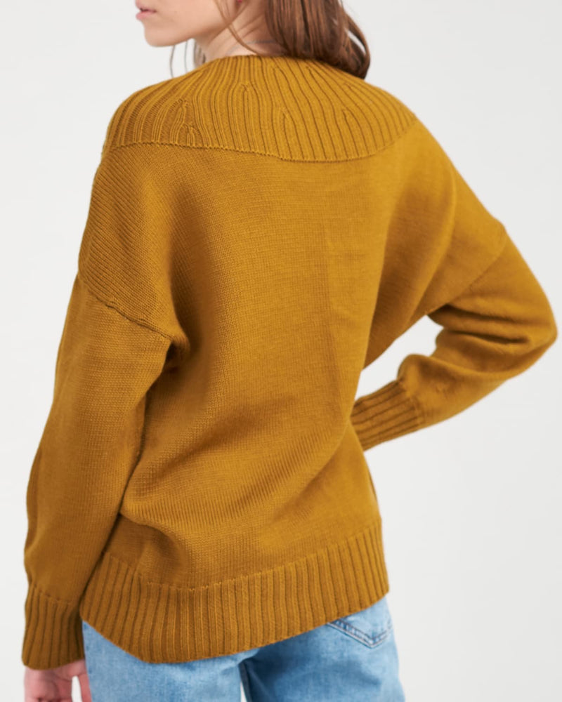 woolen sweater on the girl from the back