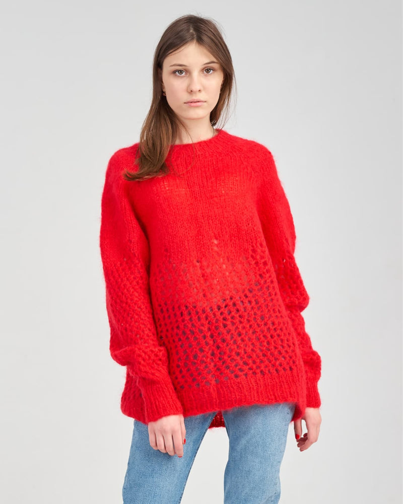 Lady in red knitted sweater