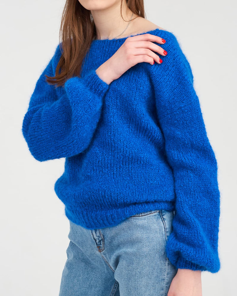 Blue Knit Puff Sleeve Sweater