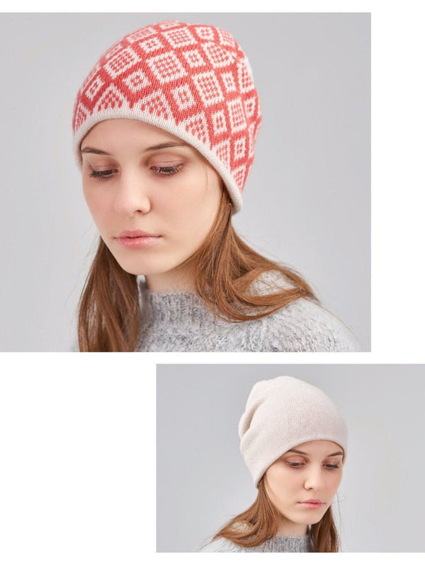 cashmere patterned winter hat
