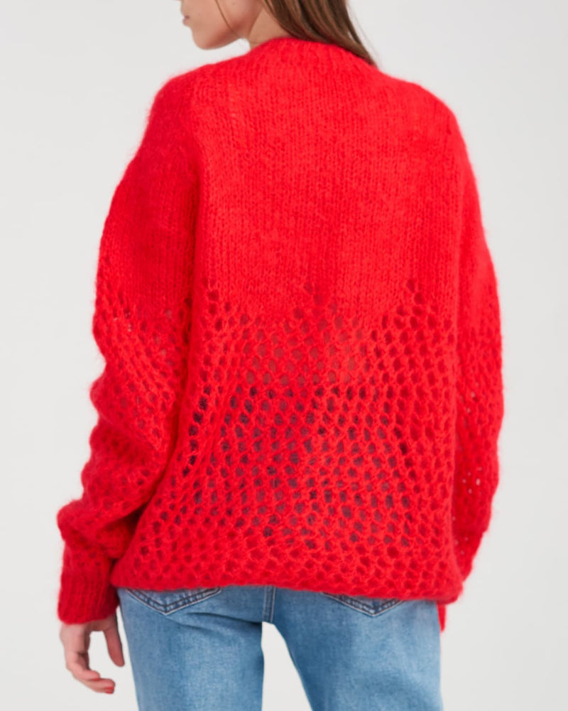 Original knitted mohair sweater back view